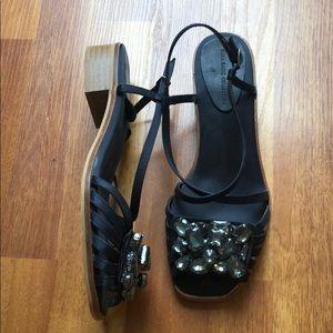 Zara blue satin embellished straps sandals 7.5